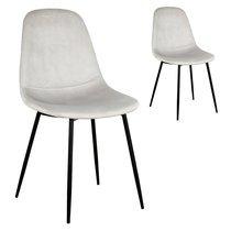 Lot de 2 chaises repas 54x85x44 cm en velours gris clair - ZADDY