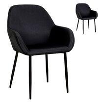 Lot de 2 fauteuils repas en tissu noir - LOXTOY