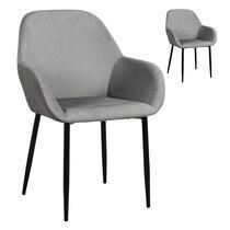 Lot de 2 fauteuils repas en tissu gris clair - LOXTOY