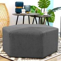 Pouf hexagonal 75x30,5 cm en tissu gris