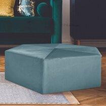 Pouf hexagonal 75x30,5 cm en tissu bleu clair