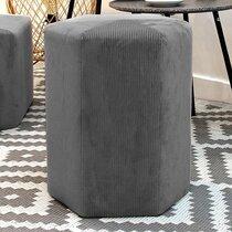 Pouf hexagonal 35x35 cm en tissu gris