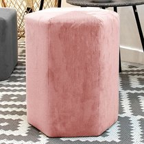 Pouf hexagonal 35x35 cm en tissu rose clair