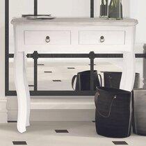 Console 2 tiroirs 80x30x78 cm en bois blanc