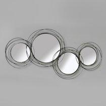 Ensemble 4 miroirs ronds 100x46 cm en métal argenté