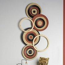 Décoration murale 6 ronds 100x60 cm en métal beige noir et rouge