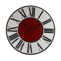 Horloge vintage ronde 80 cm en bois avec centre rouge