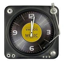 Horloge tourne disque 35,5 cm en métal noir