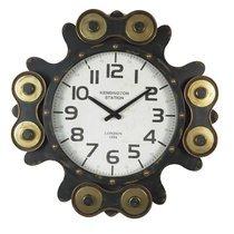 Horloge industrielle avec mécanisme en verre et métal noir et doré