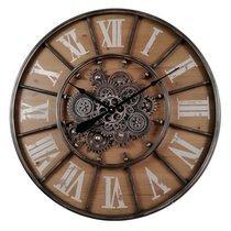 Horloge ronde 80 cm avec engrenage et fond en bois