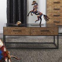 Table basse 2 tiroirs 100x50x40 cm en sapin et métal gris