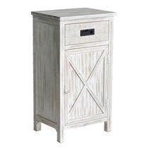 Meuble d'entrée 1 porte et 1 tiroir 43x33x79,5 cm en bois blanchi