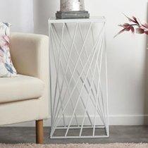 Sellette carrée 35x70,5 cm en verre et métal blanc patiné vieilli
