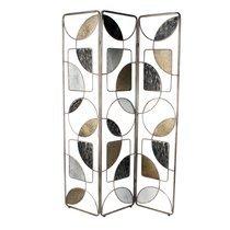 Paravent 3 volets formes géométriques en verre et métal gris et doré