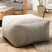 Pouf carré 57 cm en tissu velours cotelé gris clair - SOFIA