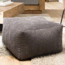 Pouf carré 57 cm en tissu velours cotelé gris foncé - SOFIA