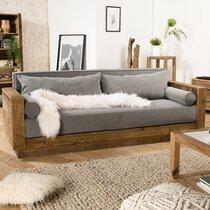 Canapé 3 places en tissu gris et pin recyclé - GLAYNE