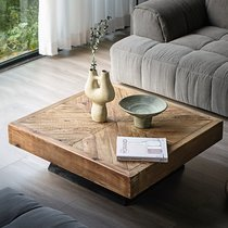 Table basse carrée 99,5x35 cm en pin recyclé - GLAYNE