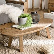 Table basse ovale 139x60x35,5 cm en pin recyclé - GLAYNE