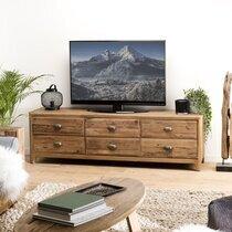 Meuble TV 6 tiroirs 181x45x55 cm en pin recyclé - GLAYNE