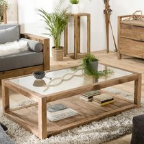 Table basse 140x80x43 cm en verre et pin recyclé - GLAYNE