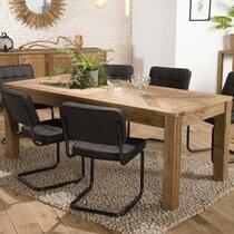 Table à manger 200x90x76 cm en pin recyclé - GLAYNE