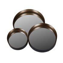 Ensemble de 3 miroirs ronds 30,7 cm, 41 cm et 51 cm en métal laiton