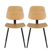 Lot de 2 chaises repas 51x52x78 cm en bois plaqué frêne naturel