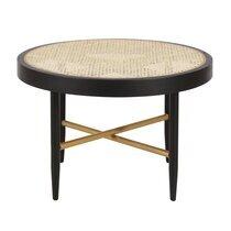 Table basse ronde 60x39 cm en rotin naturel et chêne noir - ALDEA