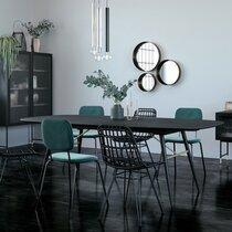 Table à manger 180-230x105x75 cm en bois plaqué chêne noir - HOBRO