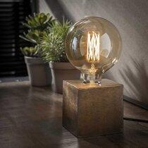 Lampe de table piétement block 10x10x10 cm bronze antique - AMP