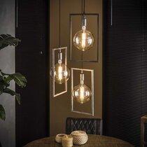 Suspension 3 lampes 56x56x150 cm en métal argent vieilli - AMP
