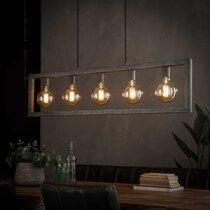 Suspension industrielle 5 lampes L120 cm en métal argent vieilli - AMP