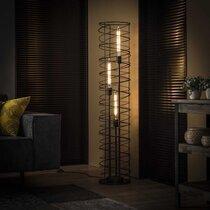Lampadaire rond 3 lampes 28x140 cm en métal gris foncé - AMP