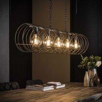 Suspension 5 lampes ronde 120x30x169 cm en métal gris foncé - AMP
