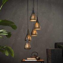 Suspension 5 lampes forme gouttes 15 cm en métal noir et bronze - AMP