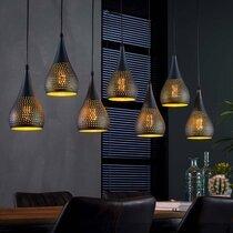 Suspension 7 lampes forme gouttes 15 cm en métal noir et bronze - AMP