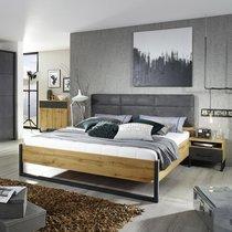 Lit 160x200 cm avec 2 chevets décor chêne et anthracite - DETROIT