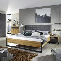 Lit 180x200 cm avec 2 chevets décor chêne et anthracite - DETROIT