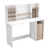 Bureau 1 portes avec rangements décor chêne brossé et blanc mat