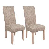 Lot de 2 chaises repas 47x62x108 cm en tissu beige