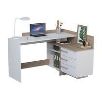 Bureau d'angle 3 tiroirs décor chêne brossé et blanc mat
