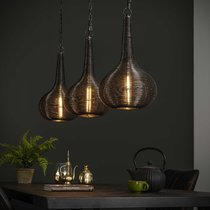 Suspension 3 lampes 115x26x150 cm en métal gris foncé