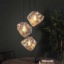 Suspension 3 lampes en verre soufflé transparent - BOKK