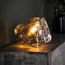 Lampe de table en verre soufflé transpartent finition noir - BOKK