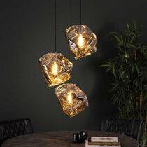 Suspension 3 lampes en verre soufflé transparent finition noire - BOKK