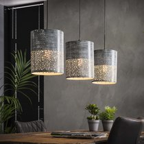 Suspension 3 lampes 100x20x150 cm en métal effet béton gris