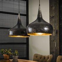 Suspension 2 lampes forme entonnoir en métal fintion argent vieilli