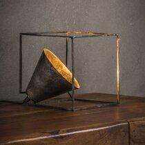 Lampe de table carrée 20 cm en métal fintion argent vieilli