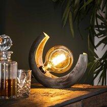 Lampe de table demi lune en métal finition argent vieilli